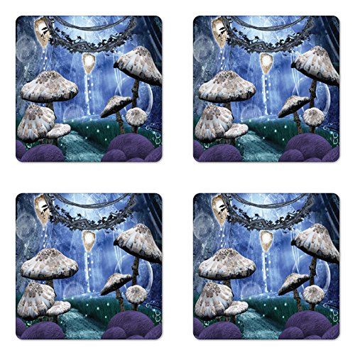 Ambesonne Trippy Coaster Set of Four, Abstract Dreamlike Forest Scenery at Night with Mushrooms Pixie Dust and Bubbles, Square Hardboard Gloss Coasters for Drinks, Multicolor