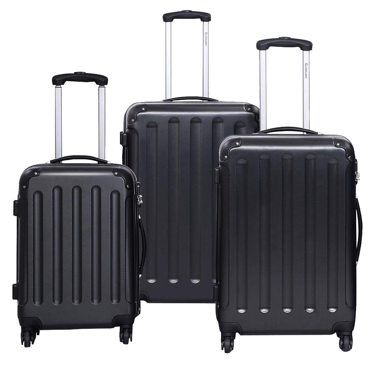 MD Group GLOBALWAY 3 pcs Luggage Trolley Case Set, Black