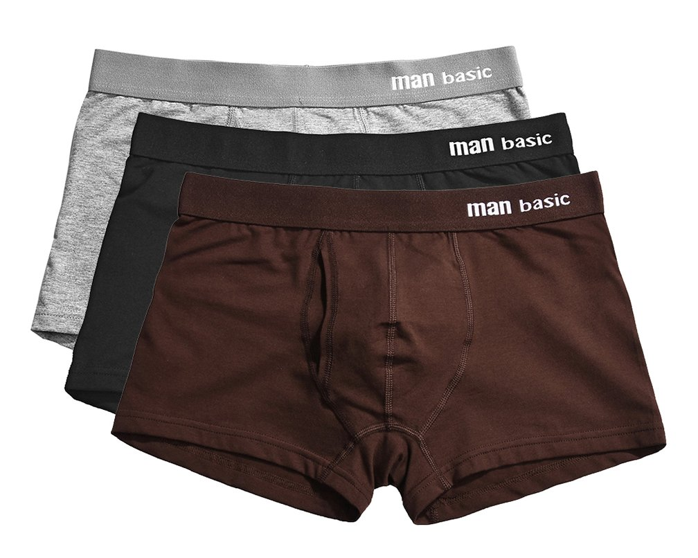 YVWTUC Male Man Basic Comfort Cotton Underwear Breathable Boxer Briefs 3-Pack