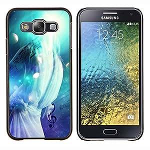 KLONGSHOP // Cubierta de piel con cierre a presión Shell trasero duro de goma Protección Caso - Música Splash - Samsung Galaxy E5 E500 //