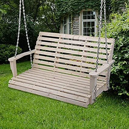 Amazon Com Homgrace Patio Hanging Rollback Wooden Porch Swing