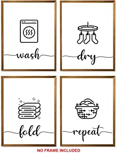 "Midoro Wash Dry Fold Repeat, Set of 4 Prints- Unframed, Laundry Room Decor, Bathroom Printables, Printable Wall Art, Bathroom Poster, Laundry Room Prints (Wash Dry fold Repeat 2, 8"" x 10"")"