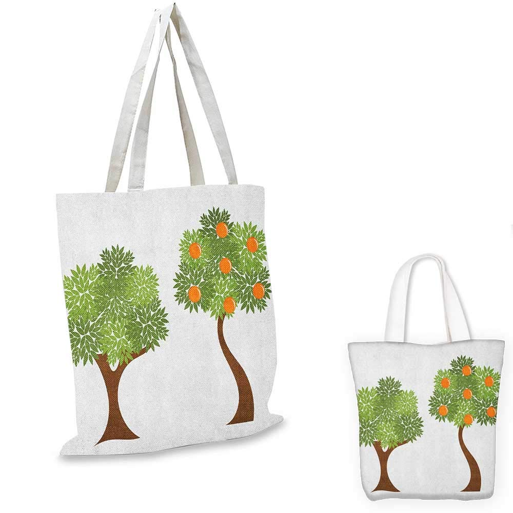 Green and Orange canvas messenger bag Two Trees with Fresh Foliage Leaves and Oranges Nature Design canvas beach bag Orange Fern Green Brown 14x16-11