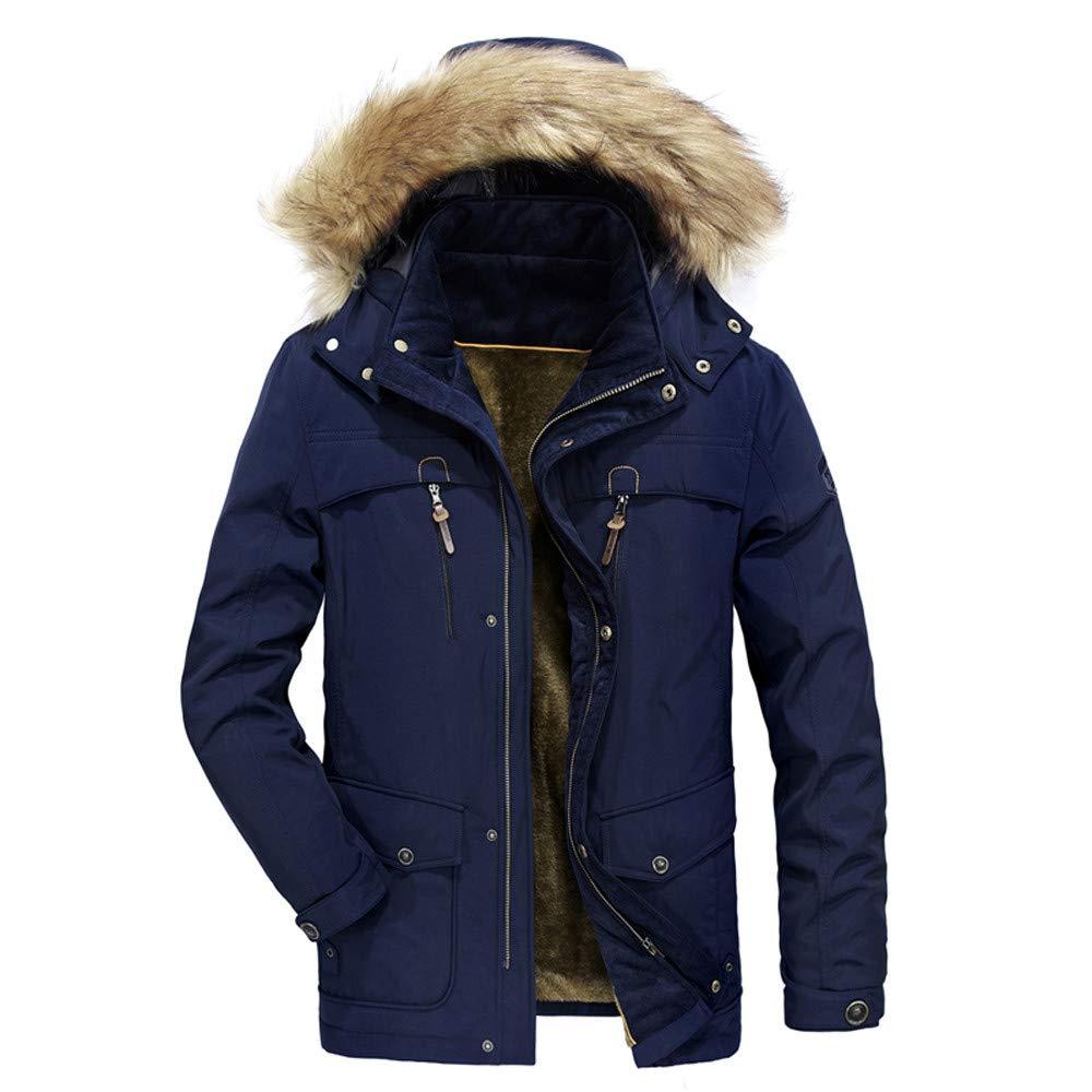 Men Thermal Plush Lining Faux Fur Hoodie Jacket Medium Length Zip up Thickened Button Symmetrical Pocket Coat