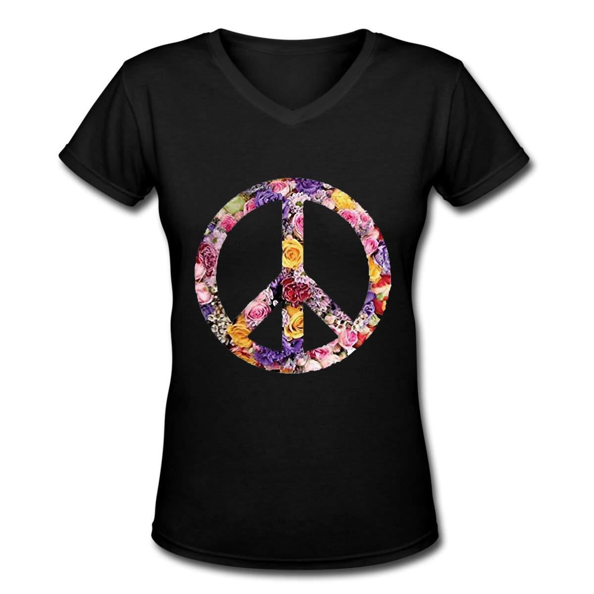 Morshang Peace Womens V-Neck T-Shirt