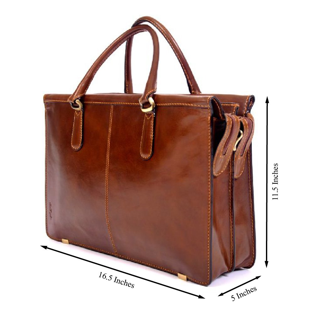 CUSTOM PERSONALIZED INITIALS ENGRAVING Tony Perotti Womens Italian Bull Leather Bella Fellini Double Compartment Leather Laptop Briefcase in Cognac
