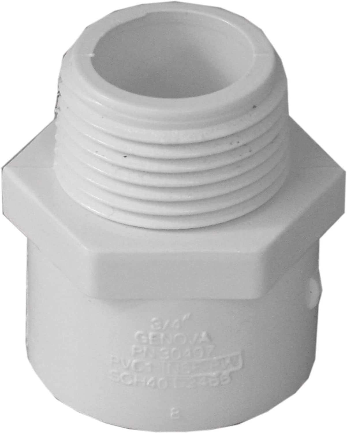 Male Adapter 3//4-In 30407 PVC Pressure Pipe Fitting White PVC - Quantity 10