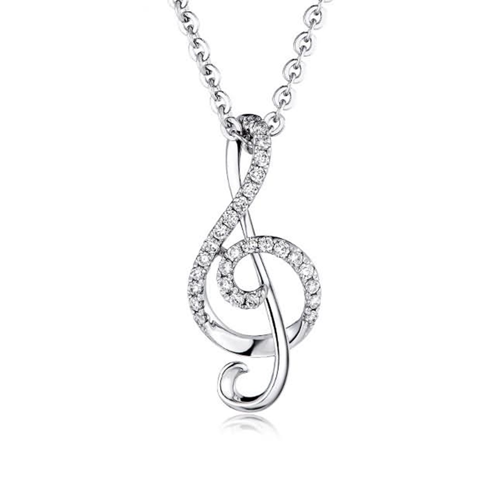 Adisaer 18k(750) White Gold Women Necklace 0.59g Music Notes Symbol Round Diamond Wedding Necklace