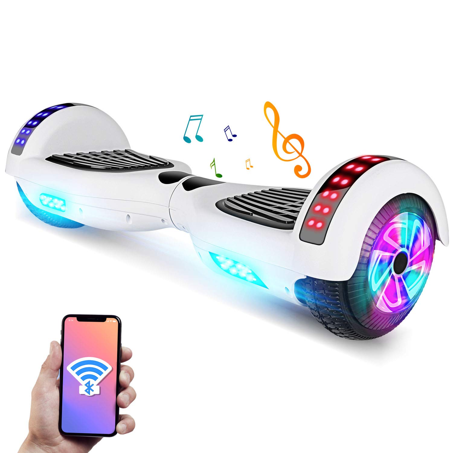 YHR 6.5'' Hoverboard -Self Balancing Scooter 2 Wheel Electric Scooter - UL Certified 2272 Bluetooth W/Speaker, LED Wheels and LED Lights (White)