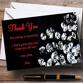 Black Red Diamond Personalized Party Thank You Cards