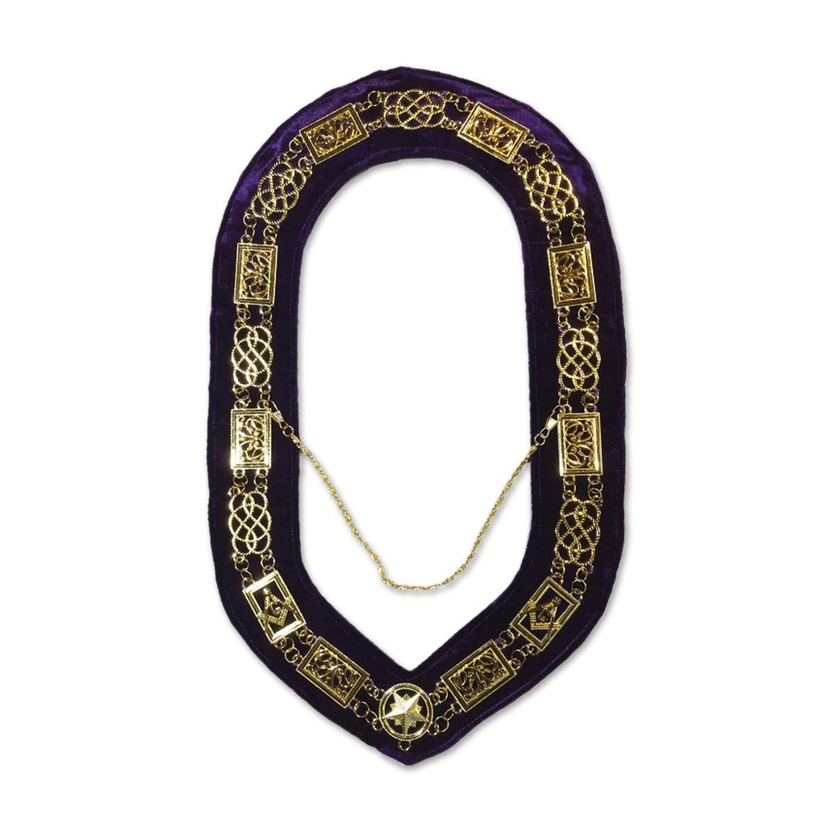 gold Grand Lodge Masonic Chain Collar with Purple Velvet