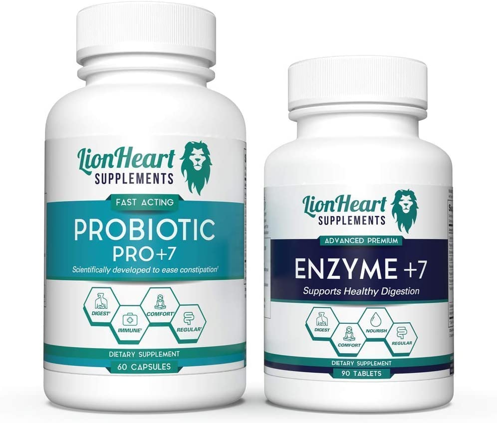 Best Digestive Support Bundle - Digestive Enzymes Containing Ox Bile Salts & Probiotics Containing 7 Potent Strains of Good Bacteria. Helps with Gas, Constipation, Diarrhea, Bloating & Acid Reflux