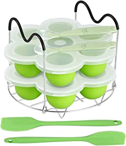 ROTTAY Silicone Egg Bites Molds and Steamer Rack Trivet with Heat Resistant Handles Fit Instant Pot Accessories, 7pcs set for 6qt & 8qt Electric Pressure Cooker With 2 Spoons and Silicone spatula
