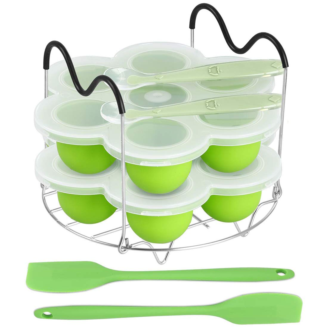 ROTTAY Silicone Egg Bites Molds and Steamer Rack Trivet with Heat Resistant Handles Fit Instant Pot Accessories, 7pcs/set for 6qt & 8qt Electric Pressure Cooker - With 2 Spoons and Silicone spatula