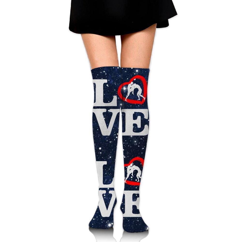 Love Wrestling Unisex Over Knee High Socks Extra Long Athletic Sport Tube Socks