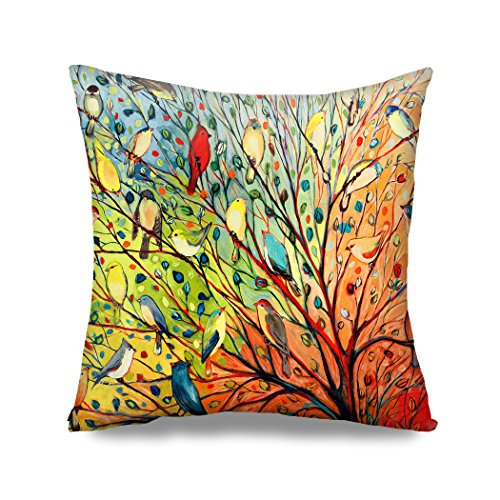 HGOD Designs Oil Painting Hundreds of Birds Throw Pillow Case Tree of Life Cotton & Polyester Soft Square Pillow Case Cushion Cover Home Sofa Bedroom Living Room Decorative ()