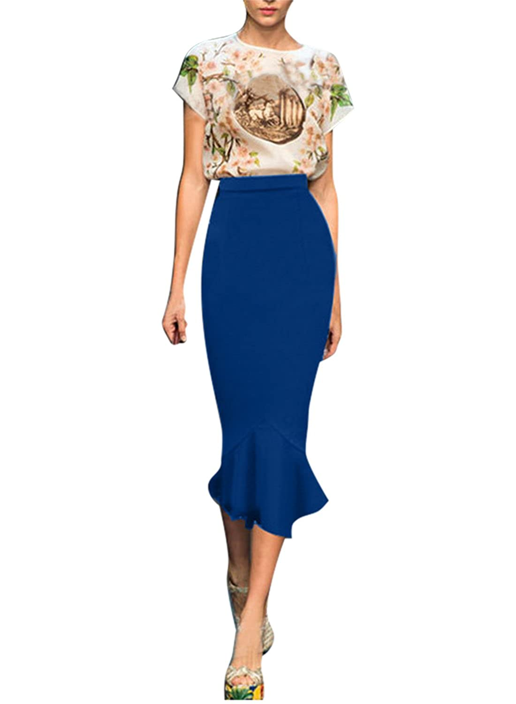 Fordestiny Damen Kleid 1950er Zwei Stile Retro Polka Dots Hahnentritt Muster Party Fishtail Rock