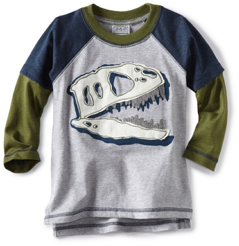 Tumbleweed Little Boys' Dino Skeleton Head Applique Tee