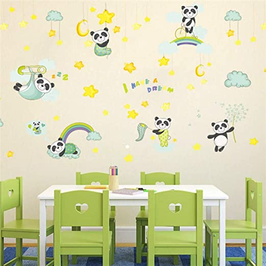 Amazon.com: Bdhnmx Panda Sweet Dream Clouds Star Wall Stickers for Kids Rooms Nursery Bedroom Decor DIY Art Decals PVC Wall Paper Poster Mural: Baby