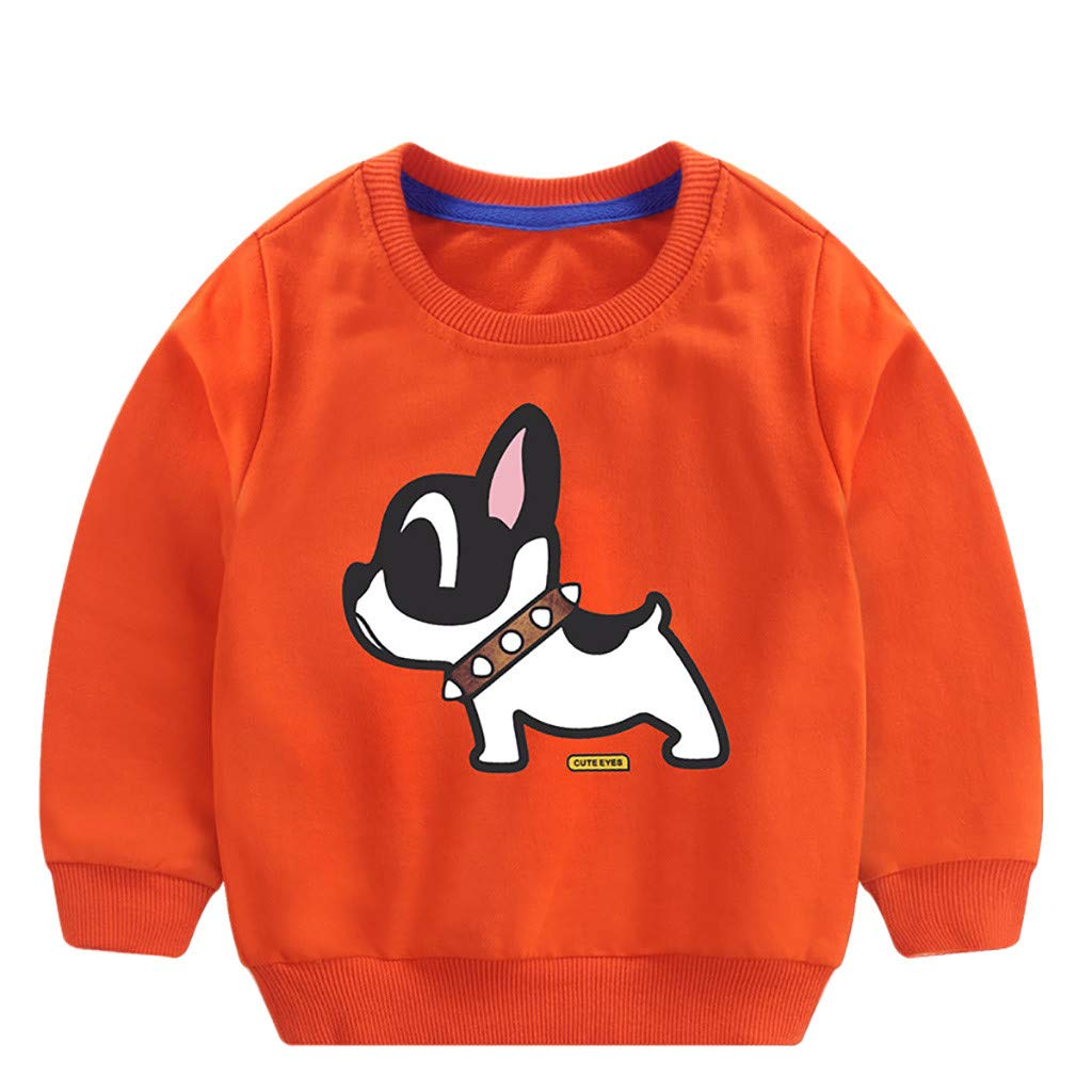 1-5 Years old Baby Sweatershirt Tops Long Sleeves Cartoon Lovely Shirt Pullover Blouse Tunic Kids Clothes Age :18-24 Months, Orange