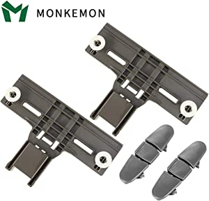 4 Packs UPGRADING W10350375(2) W10508950(2) W/1.25 Inch Diameter Wheels Dishwasher Top Rack Adjuster And Dishwasher Stop Track For Whirlpool Kitchenaid Kenmore,Replaces W10712395,W10508950,AP5957560