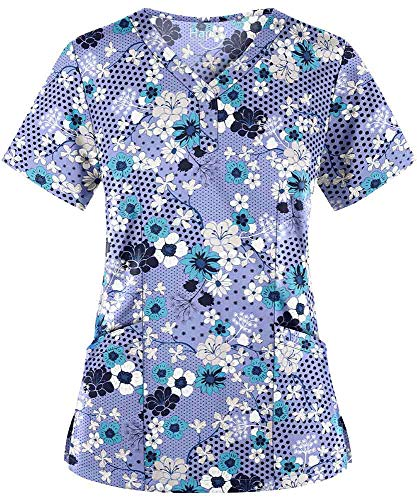 (Women's Sakura Ceil Y-Neck Stretch Print Scrub Top (XS-3X) (X-Small))