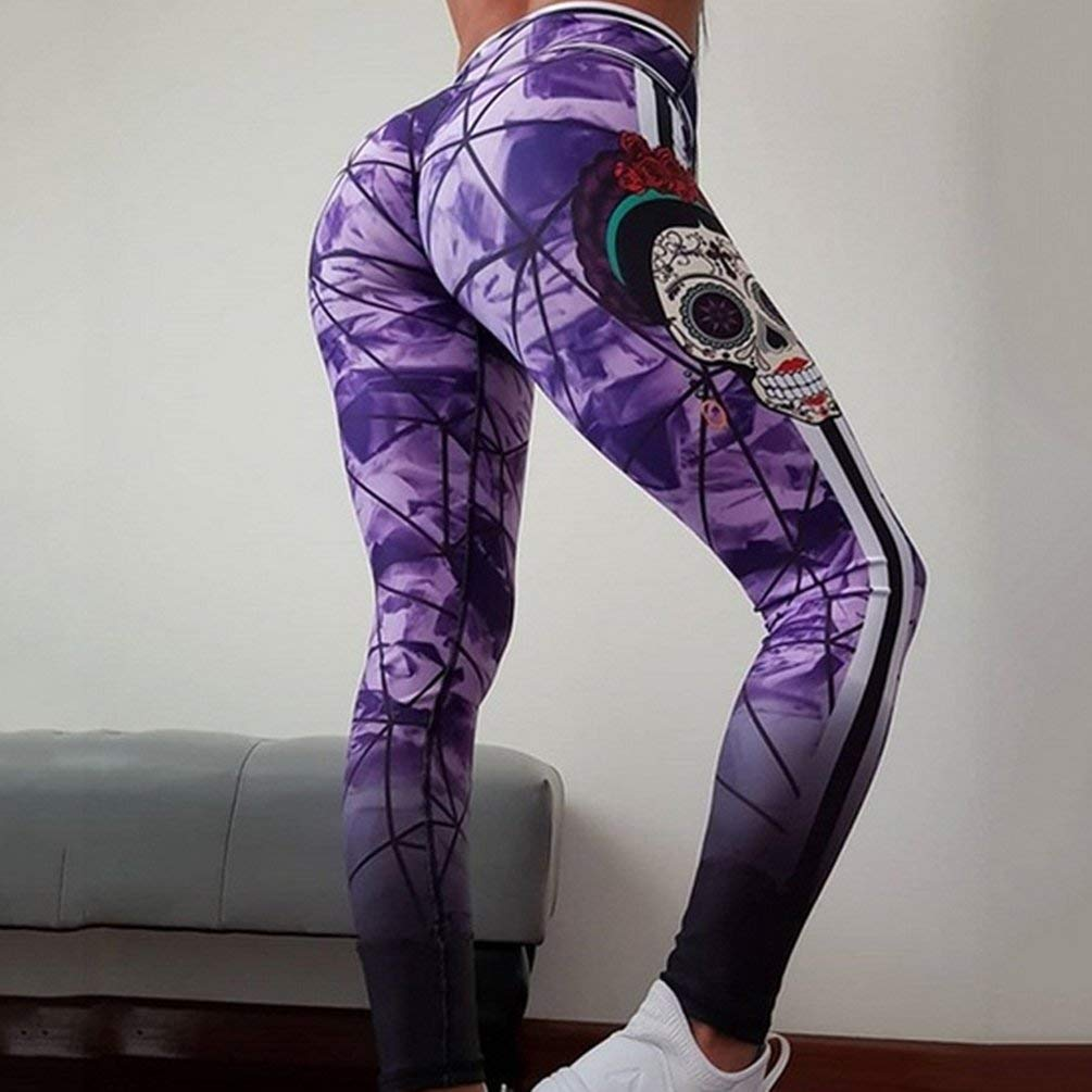 Sweepingy Skull Digital Printed Hip-up Yoga Pants Women Fitness Long Trousers 9060 Purple L