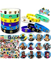 ZUUO Robot Blocks Party Supplies, 74 Pack Birthday Party Favors Set Include 50 Stickers for Video Game Fans Kids, 12 Bracelets, 12 Button Pins
