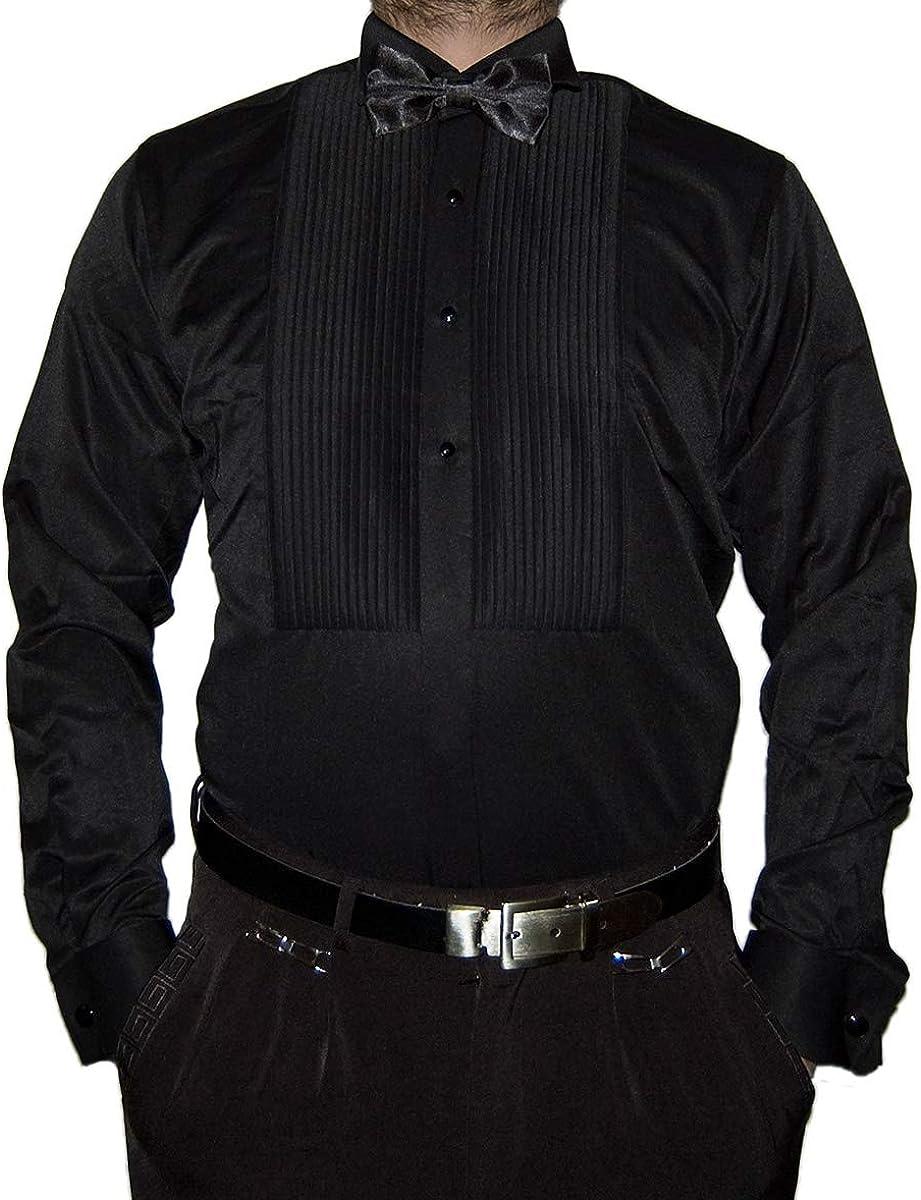 Camisa para hombre de diseño de Smoking, corte ajustado, cuello de läppch, pajarita plisada, gemelos S15 de manga larga: Amazon.es: Ropa y accesorios
