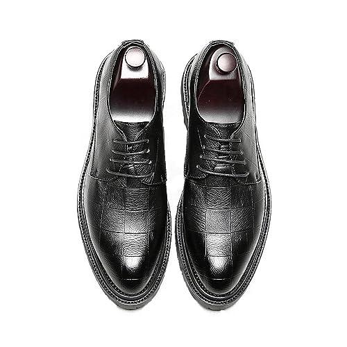 ZX Zapatos Oxford de Cuero para Hombres, Negro y marrón Zapatos de Cuero de la