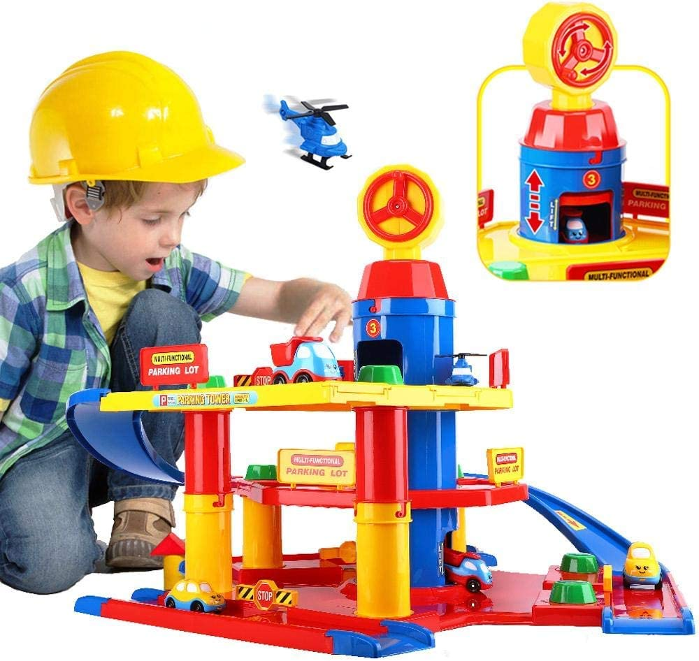 unanscre 3-Level Car Parking Garage Toy, Parking Lot Garage Building Playset, Race Tracks Car Ramp Toy with Elevator, 2 Helicopters and 4 Toy Vehicles, for Boys, Kids, Toddlers Age 3+: Toys & Games