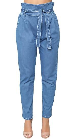 6893c5667b0ed Jeans Magnifiques Dames Longues Élégant Printemps Eté Taille Haute Strappy  Short Jean Jeune Fashion Simple Slim Fit Loisir Affligé Denim Pantalons  Crayon ...