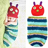 Foxnovo Cute Caterpillar Style Baby Infant Newborn Handmade Crochet Beanie Hat Clothes Baby Photograph Props (Blue)