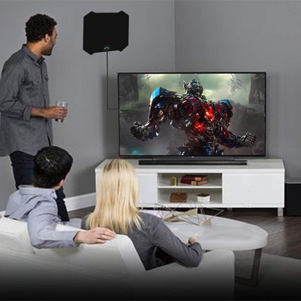 Antena HDTV, 2019 antena de televisión digital amplificada para interiores de 120 millas de rango de señal para canales locales libres 4K, cable coaxial de 17 pies, compatible con todos los televisores: