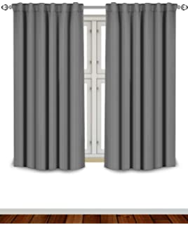 blackout room darkening curtains window panel drapes grey 2 panel set52x63 inch
