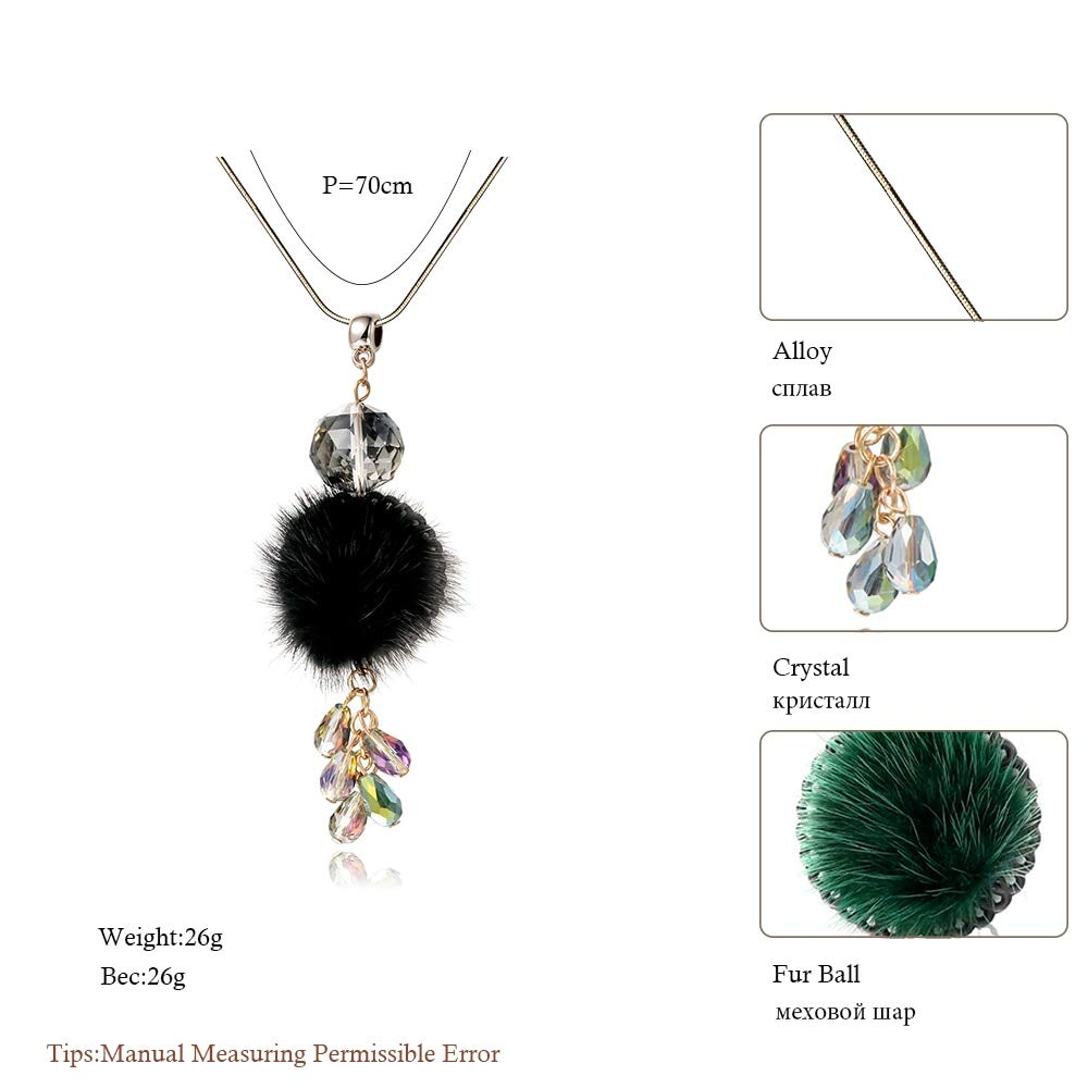 Metal Color: Black Davitu Women Long Chain Necklace Female Collier Femme Fashion Fur Ball Crystal Choker Necklaces /& Pendants Drop Colar Jewelry