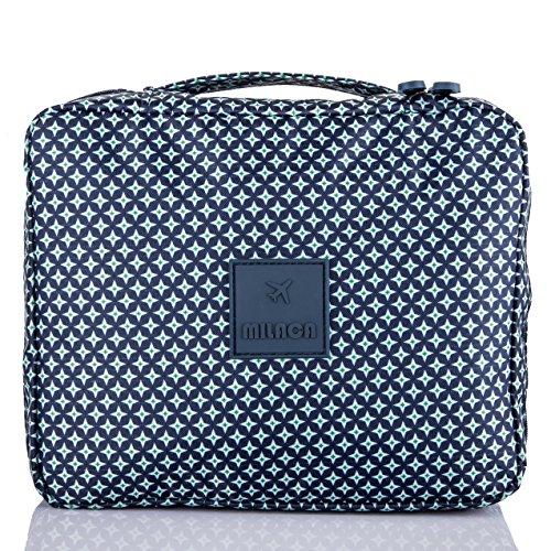 MILACA Cosmetic Makeup Bag Toiletry Travel Kit Organizer New 2016 (Deep Blue)