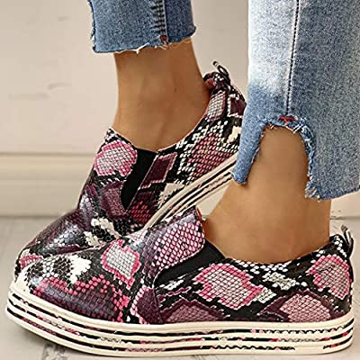 YiYLunneo Womens Platform Shoes Girls Snake Print Slip On Loafers Driving Boat Shoes Office Shoes Roman Flat Single Shoe: Clothing