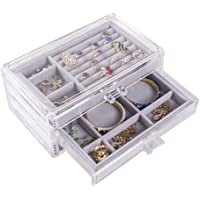 Tjackson Jewelry Storage Case 3 Drawers Transparent Organizer Earring Rings Necklaces Bracelets Display Case