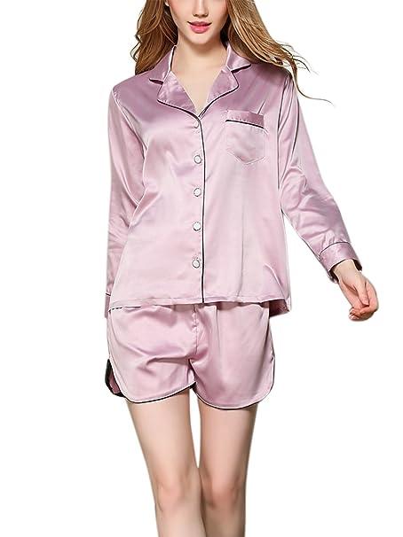 48a43367d8 Aivtalk - Conjunto de 2 Piezas Ropa de Dormir Pijama de Seda Imitación  Camiseta de Mangas Largas con Pantalones Cortos para Mujer  Amazon.es  Ropa  y ...