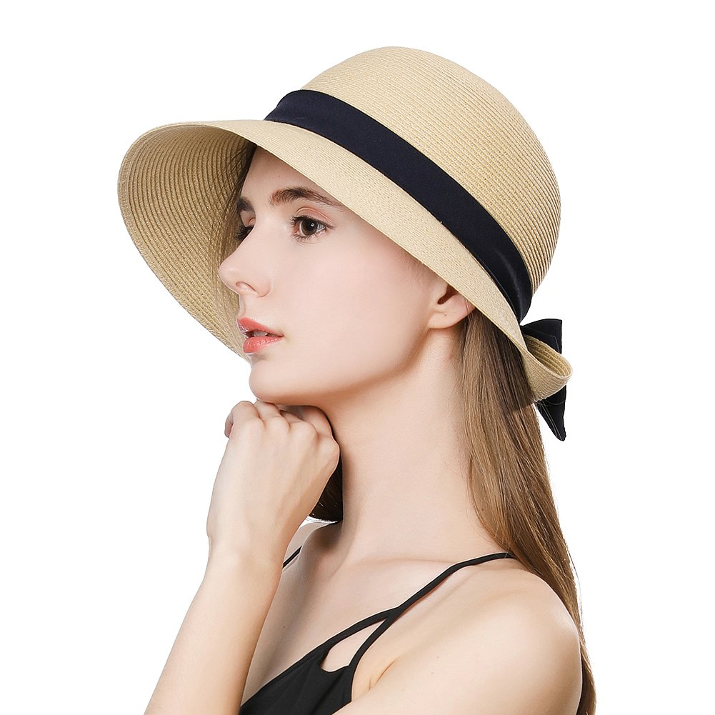Straw Sun Hat Fedora for Women Summer Beach Trillby Packable Panama Cloche Beige