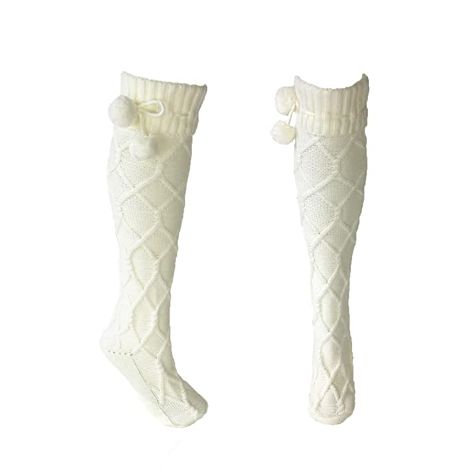 d9525660449 Fashion Culture Women s Pom Pom Cable Knit Knee High Socks
