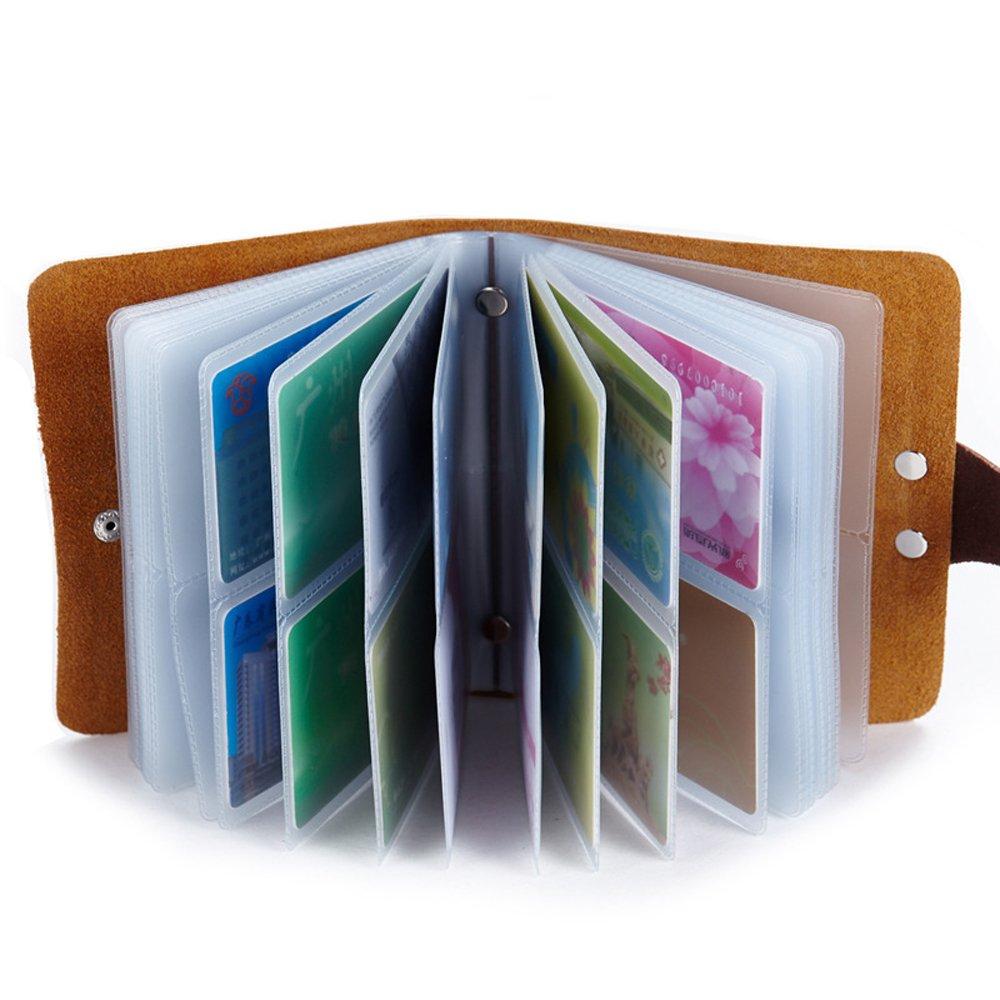Esdrem Cuir Carte de cr/édit Support Business Carte didentit/é Coque Style Livre de 60/Nom Carte Support Livre Taille Unique Marron