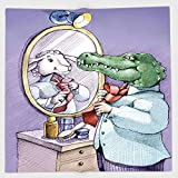 Cotton Microfiber Hand Towel,Cartoon,A Crocodile Knotting His Tie Looks in Mirror and Sees Himself As Sheep Fun Cartoon,Puple Green,for Kids, Teens, and Adults,One Side Printing