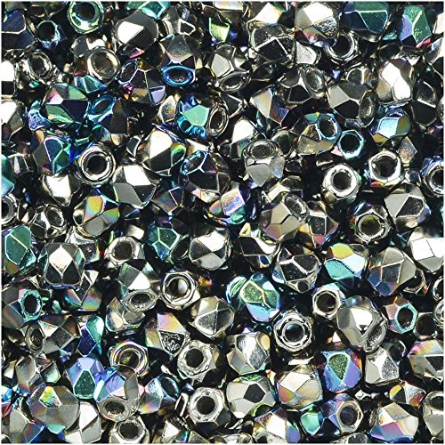 (Beadsmith True2 Czech Fire Polished Glass, Faceted Round 2mm, 50 Pieces, Crystal Nickel Plated AB)