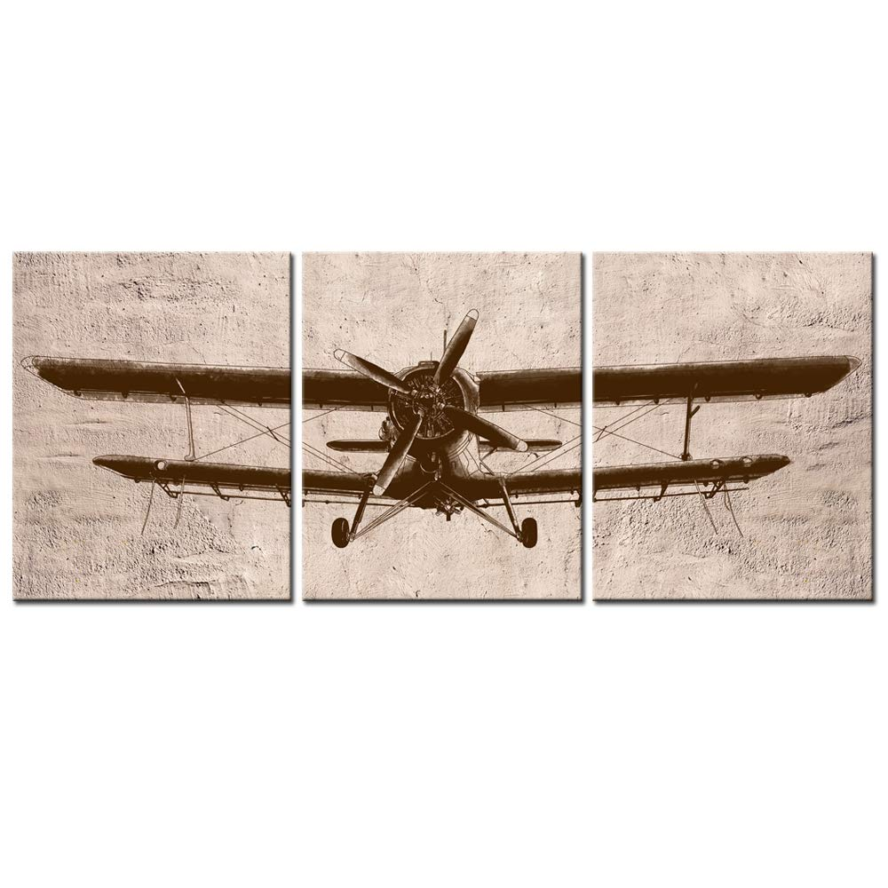 "LevvArts - 3 Piece Canvas Wall Art Vintage Airplane Art for Home Bedroom Decor Abstract Aviation Painting Giclee Print Artwork Framed Ready to Hang (12""x16""x3pcs)"
