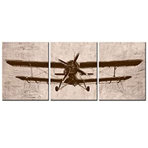 """LevvArts - 3 Piece Canvas Wall Art Vintage Airplane Art for Home Bedroom Decor Abstract Aviation Painting Giclee Print Artwork Framed Ready to Hang (12""""x16""""x3pcs)"""