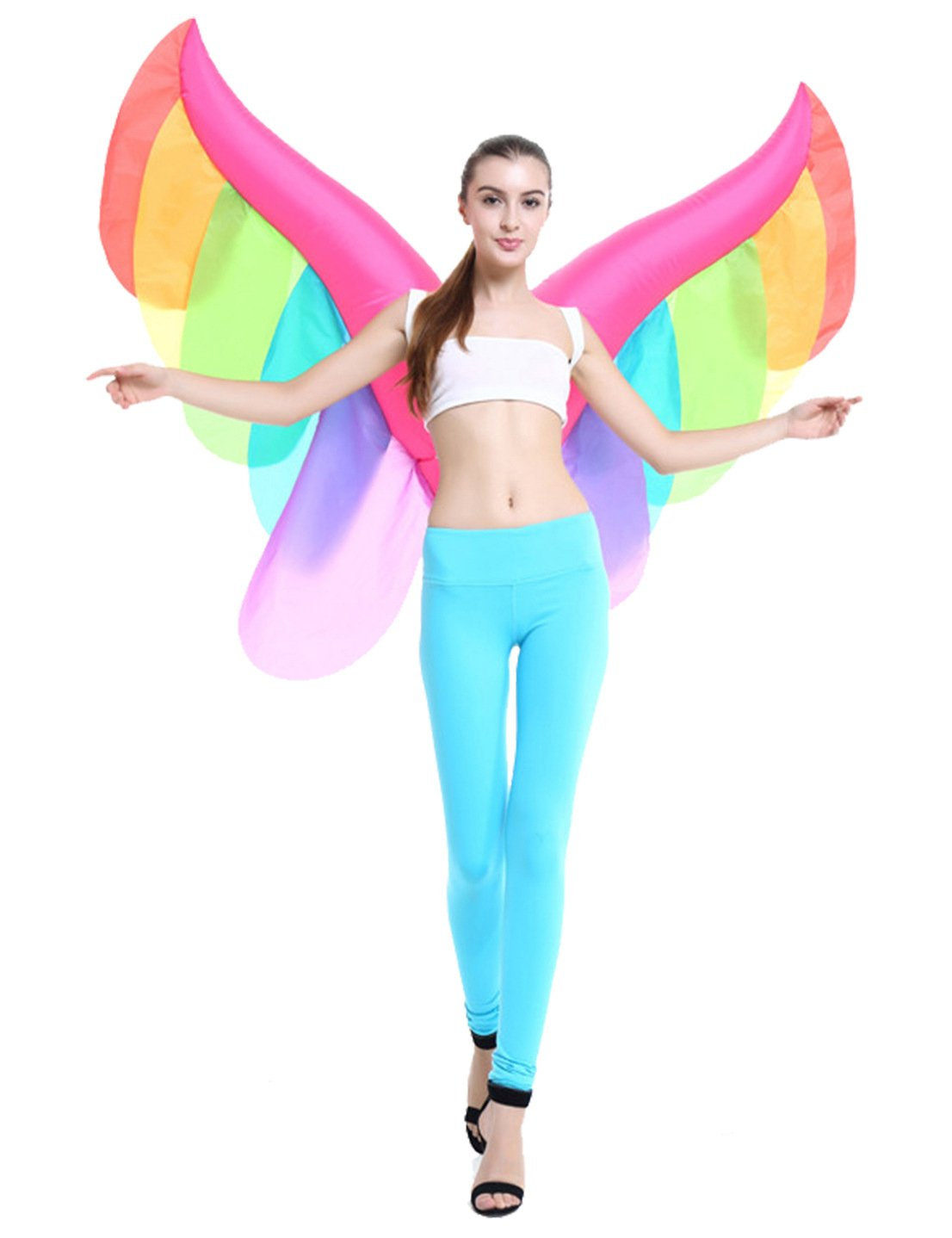 Inflatable Novelty Fairy Butterfly Rainbow Wings Halloween Costume Party Suit Fancy Dress