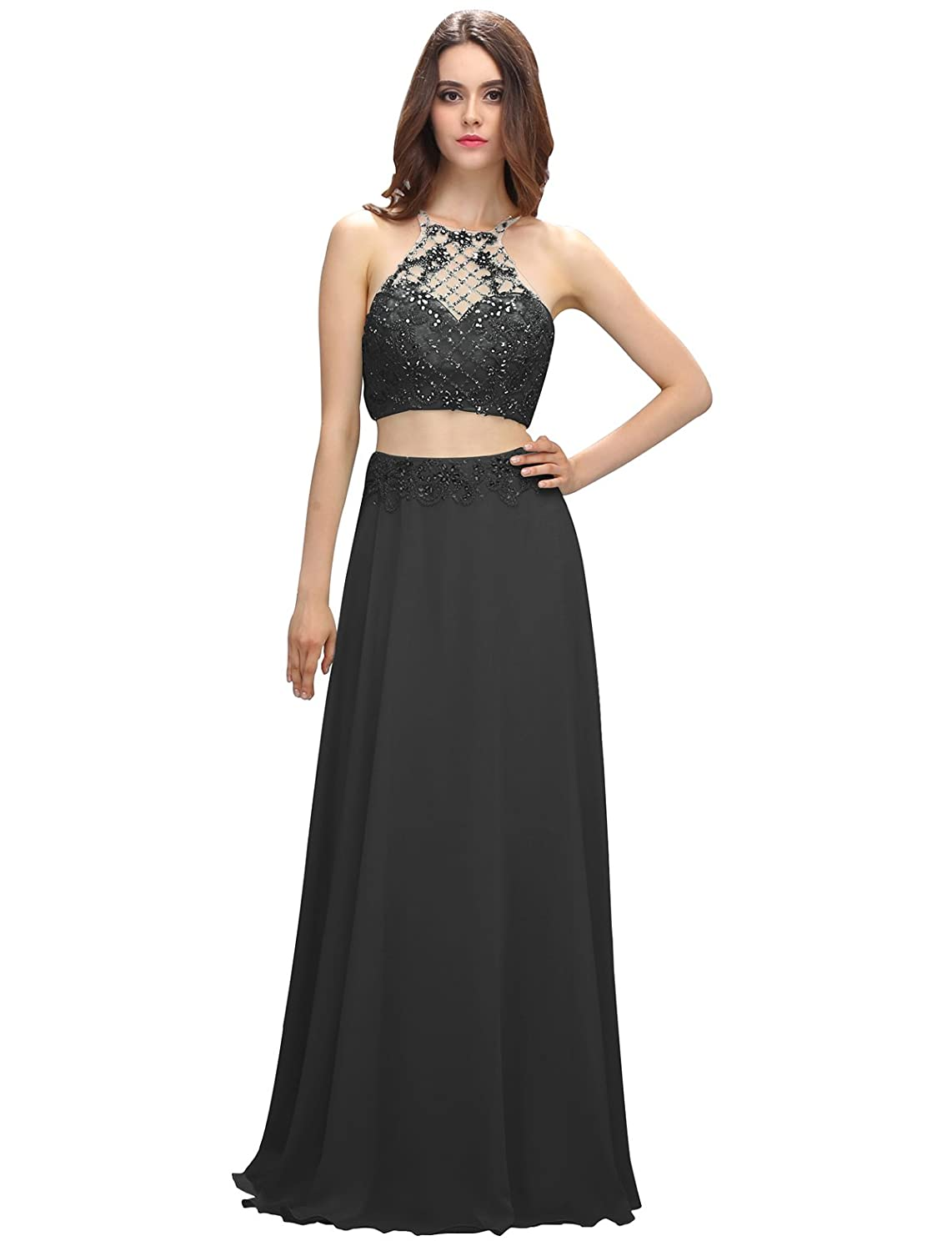 Dressystar Floor Length Two Piece Prom Dresses Chiffon Beading Evening Gowns