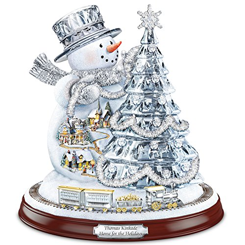 Thomas Kinkade Home For The Holidays Snowman Tree Sculpture With Lights, Music And Motion by The Bradford Exchange